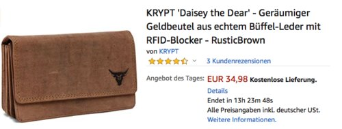 """KRYPT """"Daisey the Dear"""" Geldbeutel aus echtem Büffel-Leder mit RFID-Blocker - jetzt 50% billiger"""