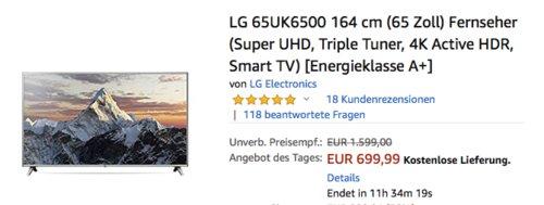 LG 65UK6500 164 cm (65 Zoll) LED-Fernseher mit 4K Active HDR - jetzt 13% billiger