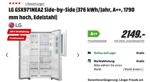 LG GSX971NEAZ Side-by-Side Kühl-Gefrierkombination mit InstaView (A++, Edelstahl, 179 cm hoch) - jetzt 9% billiger