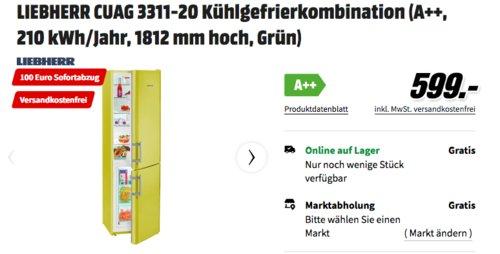 LIEBHERR CUAG 3311-20 Kühlgefrierkombination (A++, 1812 mm hoch, Grün) - jetzt 14% billiger