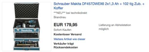Makita Akkuschrauber DF457DWEX6 Set (2x1,3 Ah, 102tlg. Zubehör, Koffer) - jetzt 32% billiger