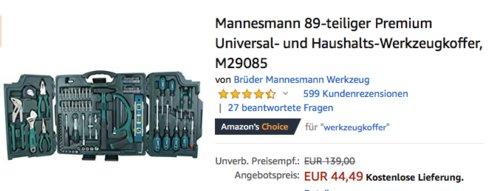 Mannesmann Universal- und Haushalts-Werkzeugkoffer M29085, 89-teilig - jetzt 15% billiger
