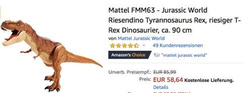 Mattel FMM63 - Jurassic World Riesendino Tyrannosaurus Rex, 90 cm - jetzt 18% billiger