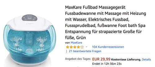 MaxKare Fußbad-Massagegerät (Fussbadewanne mit Massage mit Heizung), grün - jetzt 30% billiger
