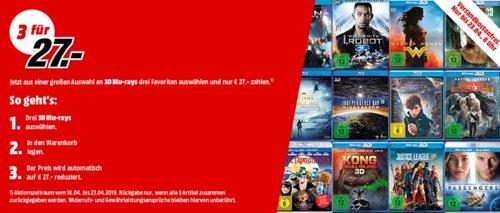MediaMarkt: 3 x 3D Blu-rays für 27€ - jetzt 41% billiger