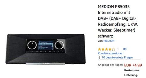 MEDION P85035 Internetradio, DAB+,  FM/UKW - jetzt 17% billiger