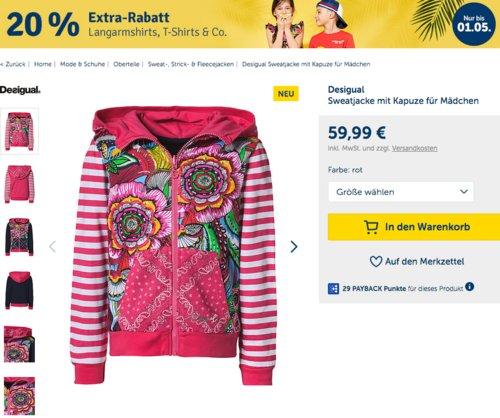myToys 20 % Extra-Rabatt auf Oberteile: z.B. Desigual Sweatjacke mit Kapuze für Mädchen (98-164) - jetzt 19% billiger