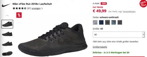 """Nike Herren Laufschuh """"Flex Run 2018"""", versch. Farben und Größen - jetzt 18% billiger"""