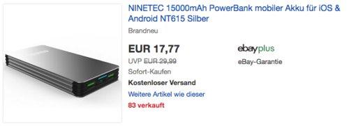 NINETEC NT-615 Powerbank, 15000mAh - jetzt 39% billiger