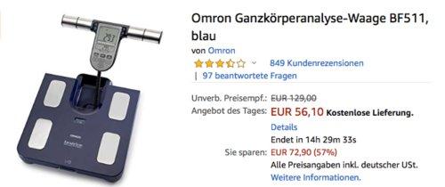 Omron Ganzkörperanalyse-Waage BF511, blau - jetzt 35% billiger