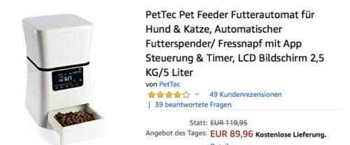 PetTec Pet Feeder Futterautomat für Hund & Katze, 2,5 kg/5 Liter - jetzt 25% billiger