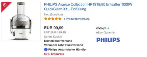 PHILIPS Avance Collection HR1918/80 Entsafter (neu und unbenutzt, aber leichte Verpackungsmängel können vorhanden sein) - jetzt 17% billiger
