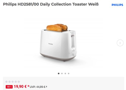 Philips HD2581/00 Daily Collection Toaster, weiß - jetzt 15% billiger