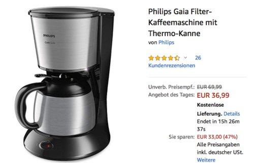 Philips HD7542/20 Gaia Filter-Kaffeemaschine mit Thermo-Kanne - jetzt 12% billiger