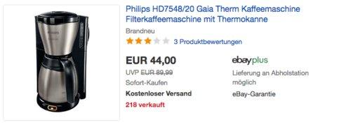 Philips HD7548/20 Gaia Therm Kaffeemaschine, Filterkaffeemaschine mit Thermokanne - jetzt 10% billiger