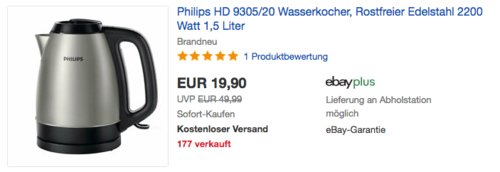 Philips HD9305/20 1,5 Liter  Edelstahl-Wasserkocher, schwarz - jetzt 26% billiger