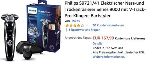 Philips S9721/41 Elektrischer Nass-und Trockenrasierer - jetzt 20% billiger