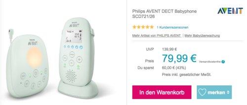 Philips SCD721/26 AVENT DECT Babyphone mit Temperatursensor - jetzt 16% billiger