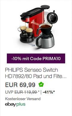 PHILIPS Senseo Switch HD7892/80 Pad- und Filterkaffeemaschine (neu und unbenutzt, aber leichte Verpackungsmängel können vorhanden sein) - jetzt 10% billiger