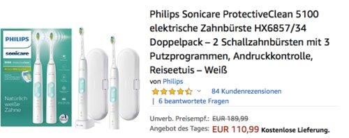 Philips Sonicare ProtectiveClean 5100 elektrische Zahnbürste HX6857/34 Doppelpack, weiß - jetzt 19% billiger