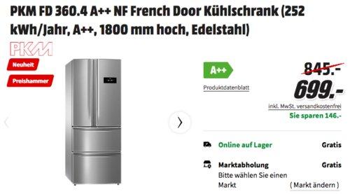 PKM FD 360.4 A++ NF French Door Kühlschrank (1800 mm hoch, Edelstahl). - jetzt 7% billiger
