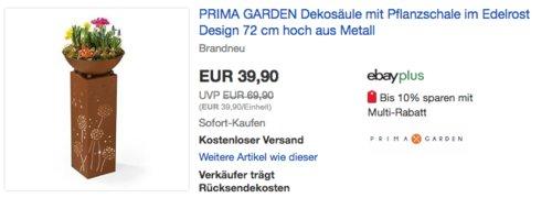 PRIMA GARDEN Dekosäule mit Pflanzschale, Edelrost Design, 72 cm hoch - jetzt 20% billiger