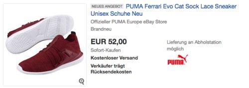 """PUMA """"Ferrari Evo Cat Sock Lace"""" Unisex Sneaker, rot - jetzt 38% billiger"""