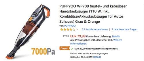 PUPPYOO WP709 beutel- und kabelloser Akku-Handstaubsauger, 110 W - jetzt 25% billiger