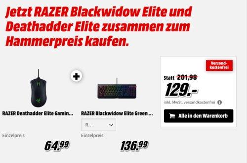 RAZER Blackwidow Elite Gaming Tastatur inkl. RAZER Deathadder Elite Gaming Maus - jetzt 36% billiger