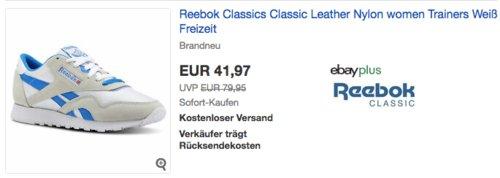 Reebok Damen Classic Leather Nylon Sneaker, weiß/blau - jetzt 25% billiger