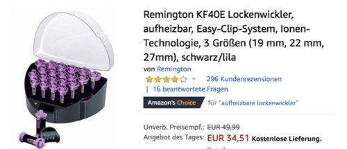Remington KF40E Lockenwickler mit 20 Heißwickler in 3 Größen, schwarz/lila - jetzt 12% billiger