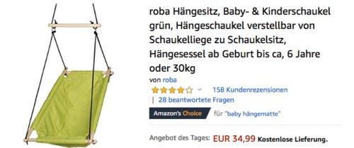roba Hängesitz/Hängesessel ab Geburt bis ca. 6 Jahre oder 30kg (grün) - jetzt 27% billiger