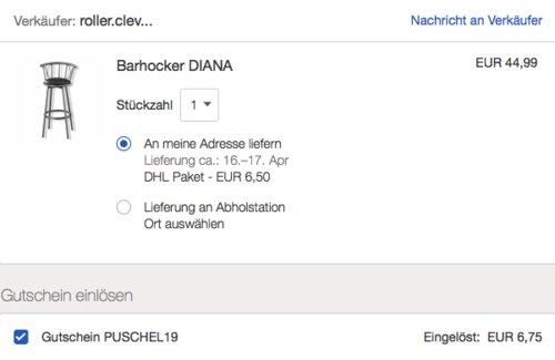 """ROLLER Barhocker """"Diana"""", schwarz/silber - jetzt 13% billiger"""