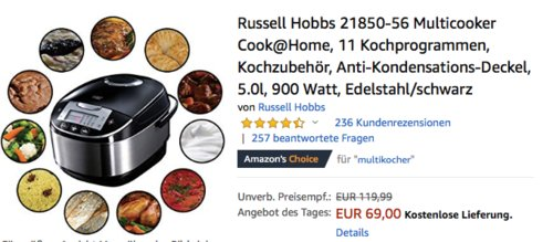 Russell Hobbs 21850-56 Cook@Home Multicooker mit 11 Kochprogrammen - jetzt 29% billiger