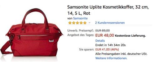 Samsonite Uplite Kosmetikkoffer/Kulturtasche, 14,5 Liter, Rot - jetzt 40% billiger
