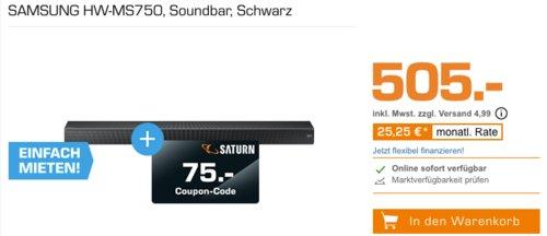 SAMSUNG HW-MS750 Soundbar inkl. 75€ Saturn Coupon - jetzt 13% billiger