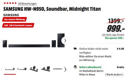 SAMSUNG HW-N950 7.1 Soundbar inkl. 150€ Geschenk-Coupon - jetzt 13% billiger
