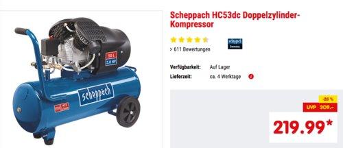 Scheppach HC53dc Doppelzylinder-Kompressor, ca. 10 bar - jetzt 8% billiger