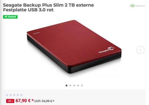 Seagate Backup Plus Slim 2 TB externe USB 3.0 Festplatte, rot - jetzt 13% billiger
