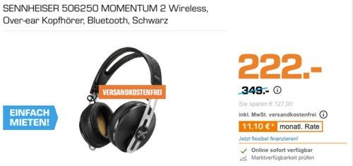 SENNHEISER 506250 MOMENTUM 2 Noise Cancelling Over-ear Bluetooth-Kopfhörer, schwarz - jetzt 21% billiger