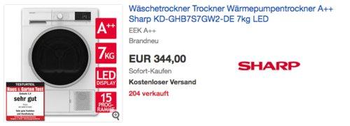 Sharp KD-GHB7S7GW2-DE 7 kg Wärmepumpentrockner, A++ - jetzt 19% billiger