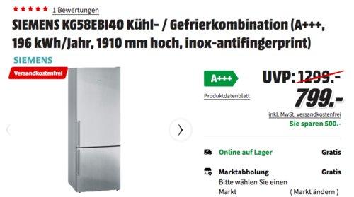 SIEMENS KG58EBI40 Kühl- / Gefrierkombination (A+++, 191 cm) - jetzt 11% billiger