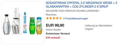 SodaStream Crystal 2.0 Wassersprudler in Weiß inkl. 2 x Glaskaraffe 0,6 L, 2 x Sodastream Sirup und 1x  Kohlensäure-Zylinde - jetzt 23% billiger