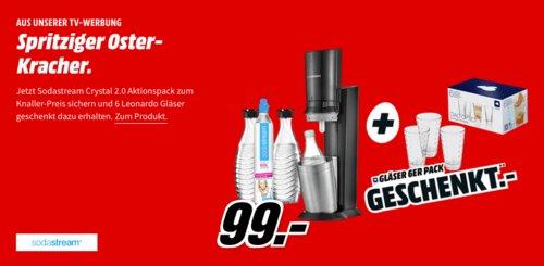 SODASTREAM Wassersprudler Crystal 2.0 Set inkl. LEONARDO 012684 Ciao Optic 6-tlg. Gläser-Set - jetzt 24% billiger
