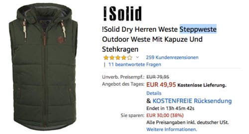 !Solid Dry Herren Steppweste mit Kapuze, versch. Farben und Größe - jetzt 17% billiger