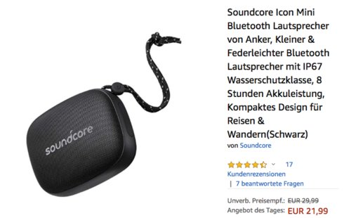 Soundcore Icon Mini Bluetooth Lautsprecher, schwarz - jetzt 27% billiger