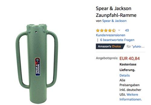 Spear & Jackson Zaunpfahl-Ramme, 165 mm Durchmesser - jetzt 26% billiger