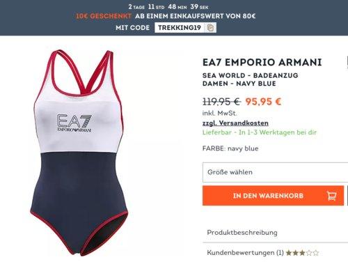 SportScheck.com - 10€ Rabatt ab 80€ Mindestbestellwert: z.B. EA7 Emporio ArmaniSea World Damen Badeanzug, navy blue - jetzt 10% billiger