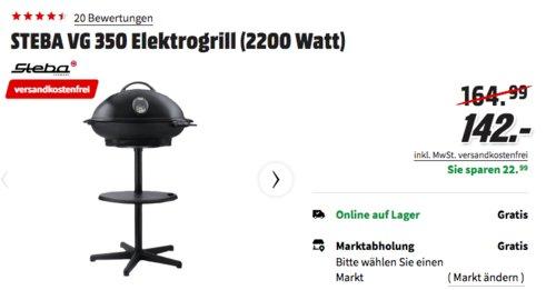 STEBA VG 350 Elektrogrill mit Haube, 2200 Watt - jetzt 5% billiger