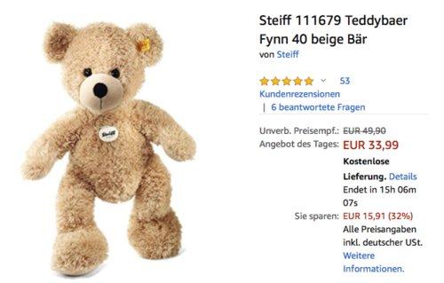 "Steiff 111679 Teddybär ""Fynn"", 40 cm, beige - jetzt 15% billiger"
